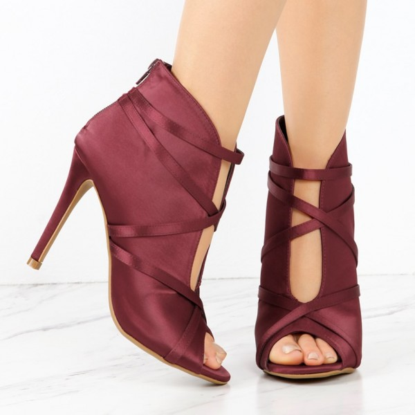 Burgundy Satin Peep Toe Booties Cut out Strappy Stiletto Heel Boots image 2