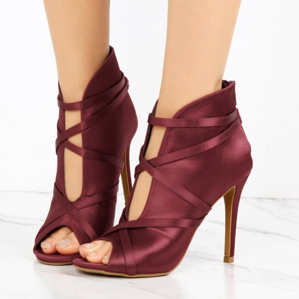 791e057245d4 Burgundy Satin Peep Toe Booties Cut out Strappy Stiletto Heel Boots image 1  ...