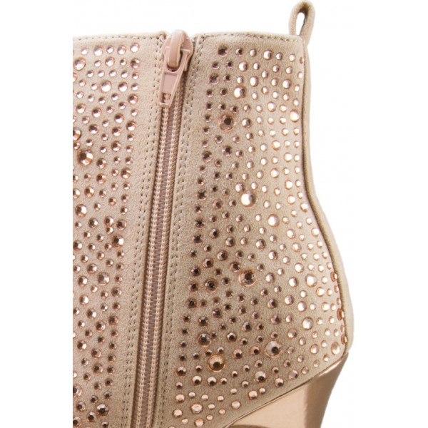 Fashion Nude Pink Lace up Boots Peep Toe Rhinestone Ankle Boots image 3