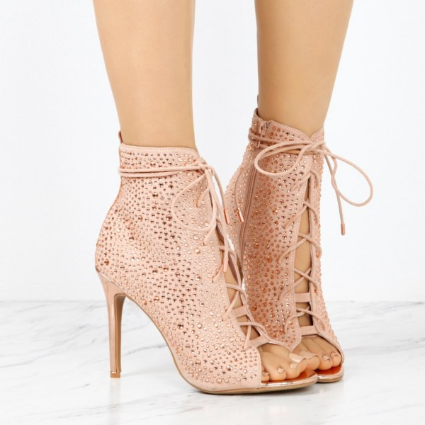 Fashion Nude Pink Lace up Boots Peep Toe Rhinestone Ankle Boots  image 2