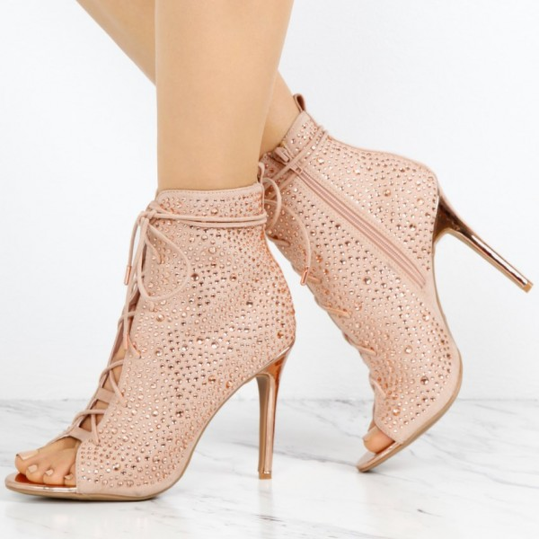 Fashion Nude Pink Lace up Boots Peep Toe Rhinestone Ankle Boots  image 1