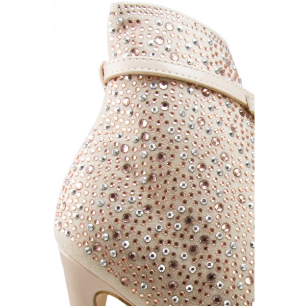 Fashion Nude Pink Stiletto Boots Peep Toe Rhinestone Ankle Boots  image 3