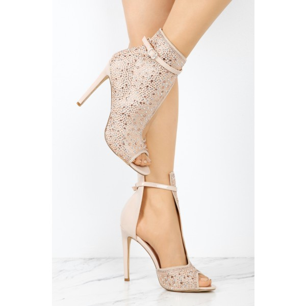Fashion Nude Pink Stiletto Boots Peep Toe Rhinestone Ankle Boots  image 2