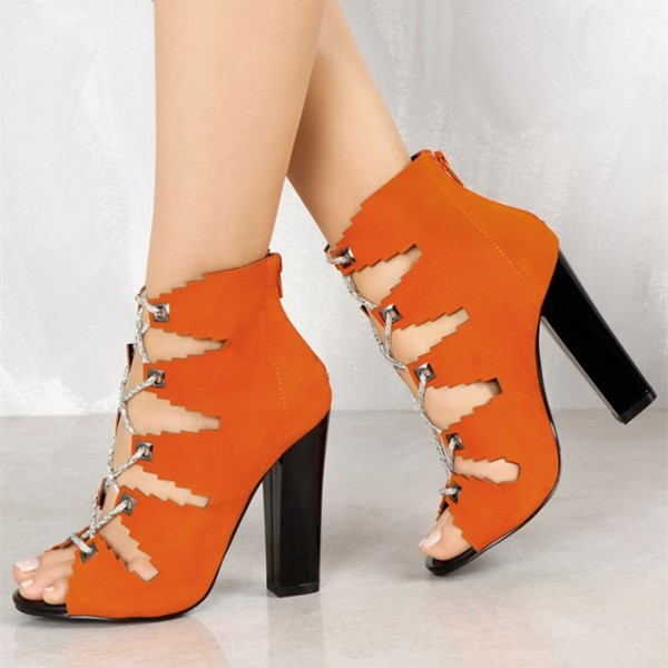 cb81a21673f2 Orange Suede Lace up Boots Chunky Heel Peep Toe Ankle Booties image 1 ...