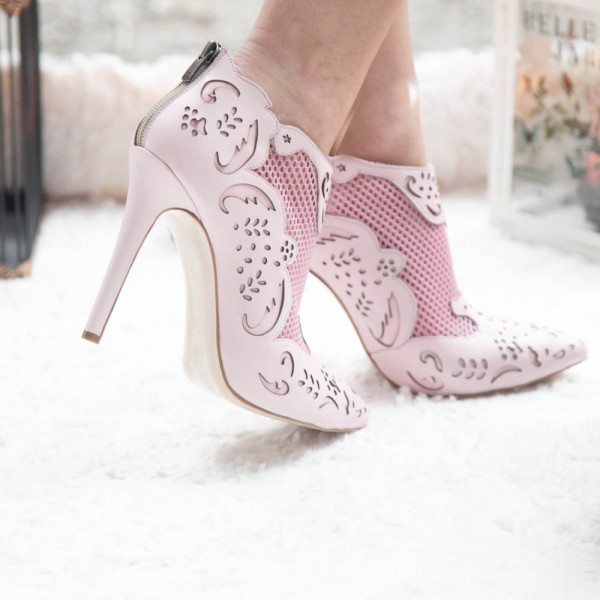 Fashion Pink Carved Dress Shoes Pointy Toe Stiletto Heels Ankle Boots image 2