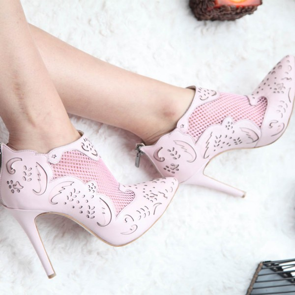 Fashion Pink Carved Dress Shoes Pointy Toe Stiletto Heels Ankle Boots image 3