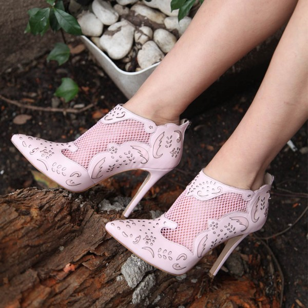 Fashion Pink Carved Dress Shoes Pointy Toe Stiletto Heels Ankle Boots image 1