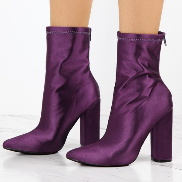 Fashion Purple Chunky Heel Boots Satin Pointy Toe Ankle Boots  image 1