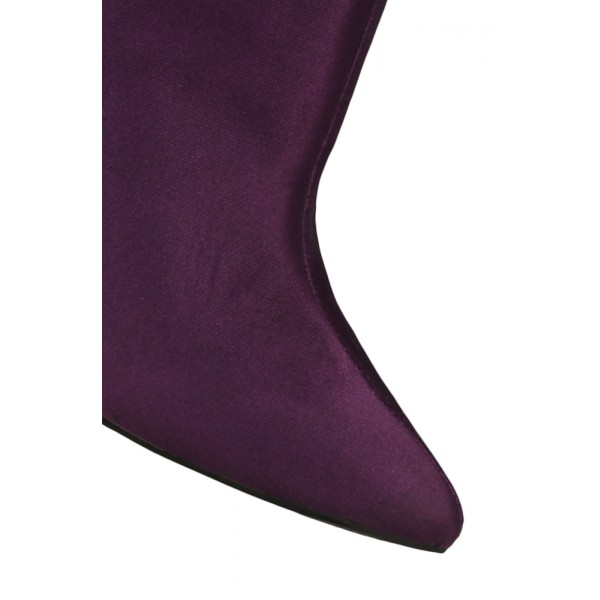Fashion Purple Chunky Heel Boots Satin Pointy Toe Ankle Boots  image 3