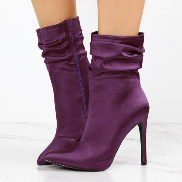 Fashion Purple Stiletto Boots Satin Pointy Toe Ankle Boots For Women image 1