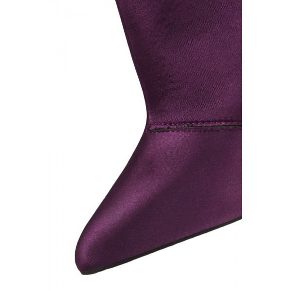 Fashion Purple Stiletto Boots Satin Pointy Toe Ankle Boots For Women image 3