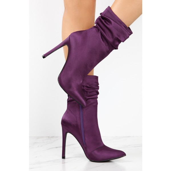 Fashion Purple Stiletto Boots Satin Pointy Toe Ankle Boots For Women image 2