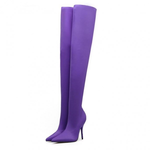 Fashion Purple Stiletto Boots Skinny Satin Pointy Toe Thigh High Boots image 1