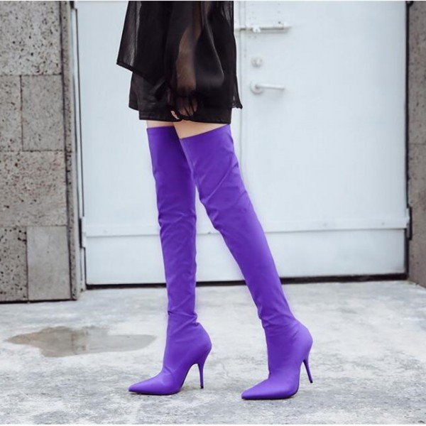 Fashion Purple Stiletto Boots Skinny Satin Pointy Toe Thigh High Boots image 2