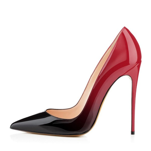 Red and Black Gradient Office Heels Pointy Toe Patent Leather Pumps image 2