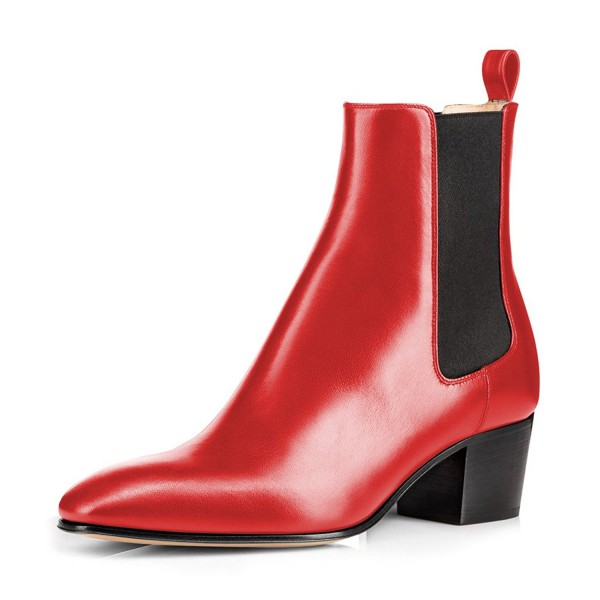 Fashion Red Chelsea Boots Patent Leather Ankle Chunky Heel Boots image 1