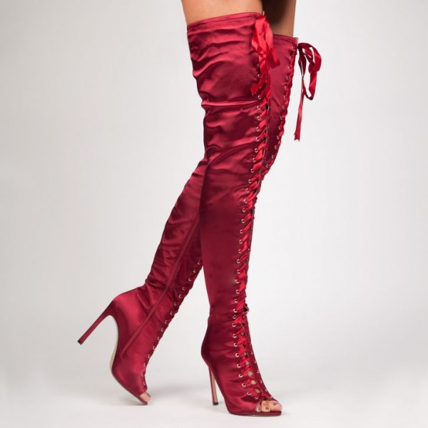 Red Thigh High Lace up Boots Satin Stiletto Heel Long Boots image 2