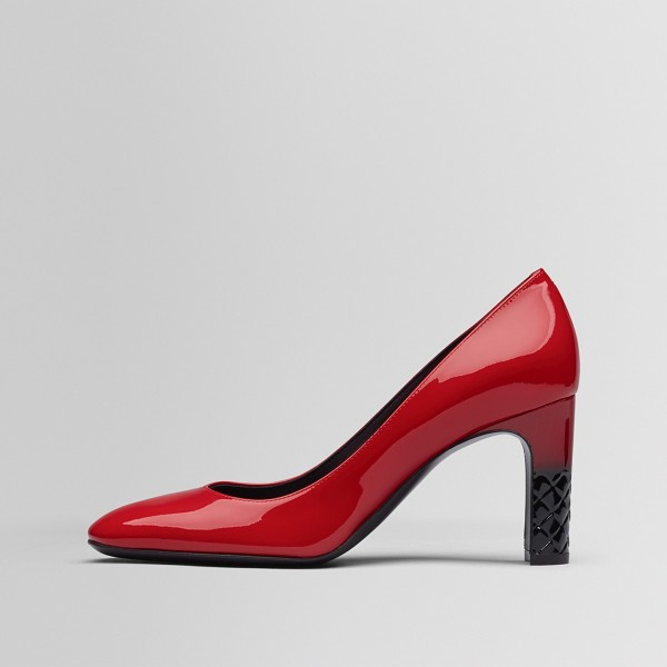 Fashion Red Patent Leather Chunky Heels Pumps image 1