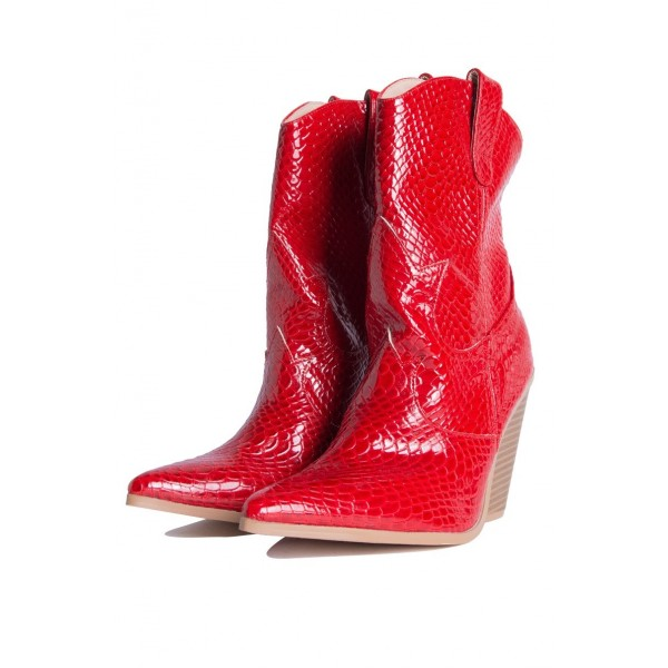 Red Snakeskin Slip on Boots Pointy Toe Chunky Heel Western Boots image 3