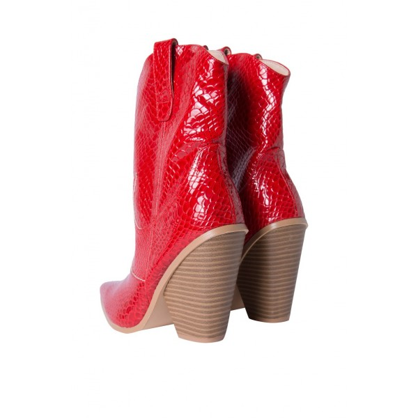 Red Snakeskin Slip on Boots Pointy Toe Chunky Heel Western Boots image 2