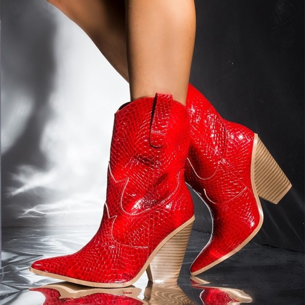 Red Snakeskin Slip on Boots Pointy Toe Chunky Heel Western Boots image 1