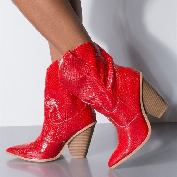 Red Snakeskin Slip on Boots Pointy Toe Chunky Heel Western Boots image 4