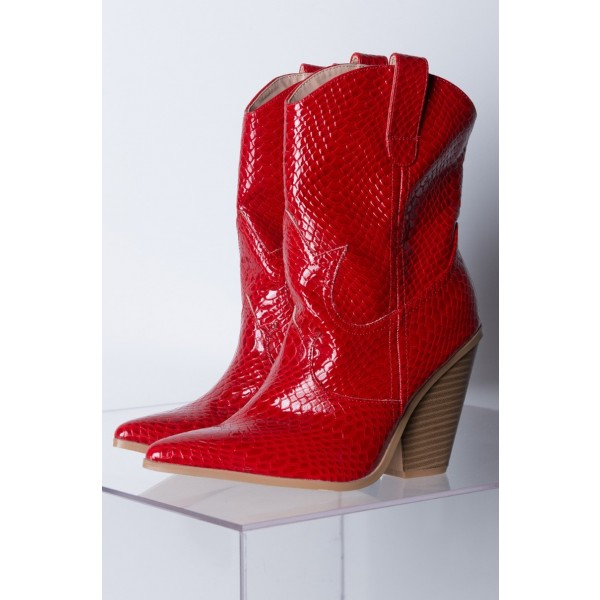 Red Snakeskin Slip on Boots Pointy Toe Chunky Heel Western Boots image 5