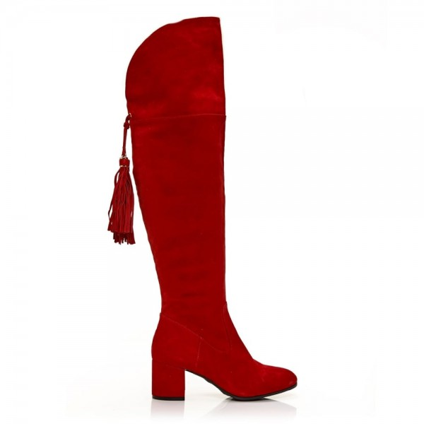 Fashion Red Tassels Suede Long Boots Chunky Heels Over-the-knee Boots image 3