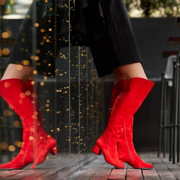 Fashion Red Tassels Suede Long Boots Chunky Heels Over-the-knee Boots image 4