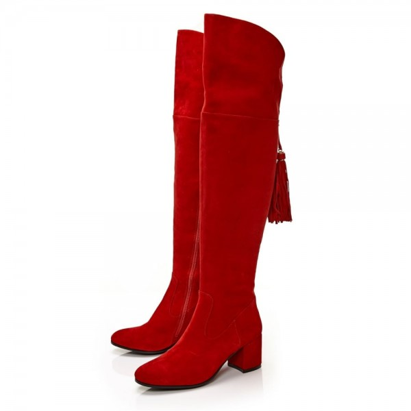 Fashion Red Tassels Suede Long Boots Chunky Heels Over-the-knee Boots image 5