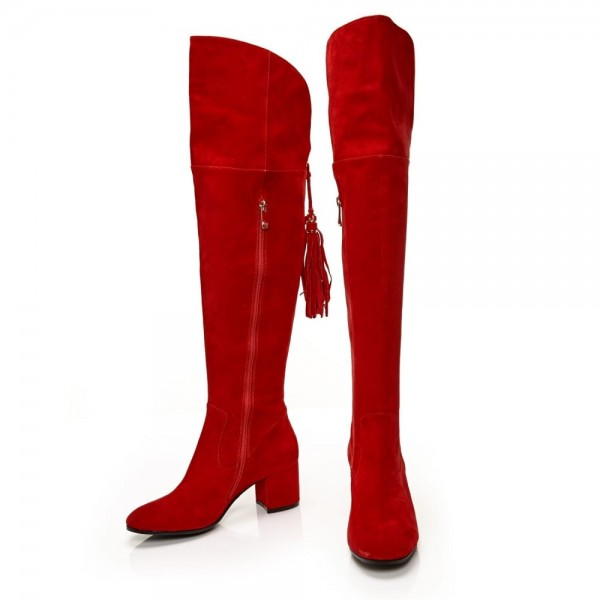Fashion Red Tassels Suede Long Boots Chunky Heels Over-the-knee Boots image 1