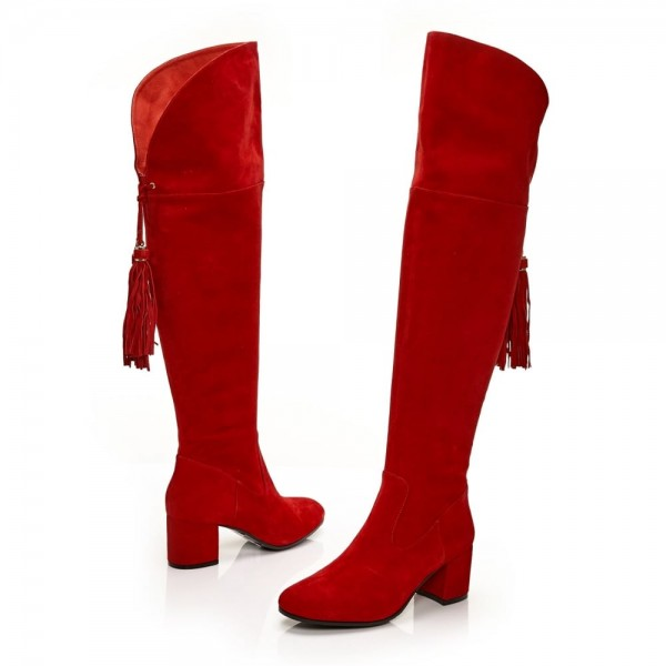Fashion Red Tassels Suede Long Boots Chunky Heels Over-the-knee Boots image 8