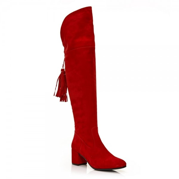 Fashion Red Tassels Suede Long Boots Chunky Heels Over-the-knee Boots image 9