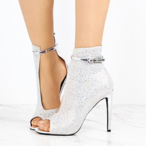 1248a9c594 Silver Cut Out Boots Rhinestone Hotfix Stiletto Heel Peep Toe Booties