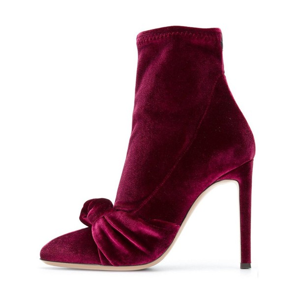 Burgundy Ankle Booties Stiletto Heel Velvet Boots with Bow image 2