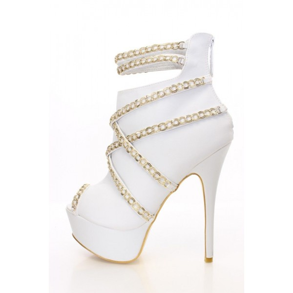 Fashion Women's White Metal Chain Platform Boots Peep Toe Ankle Boots image 1