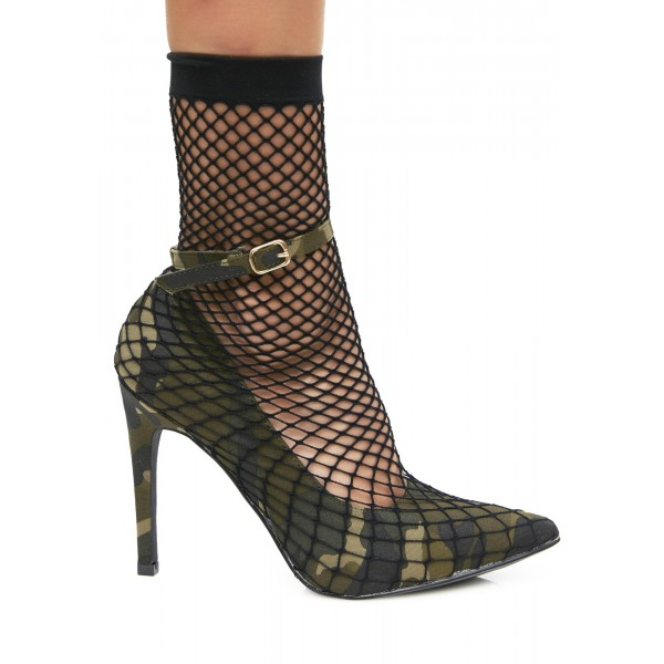 Fatigues Nets Ankle Strap Heels Pointy Toe Sitletto Heels Pumps image 2