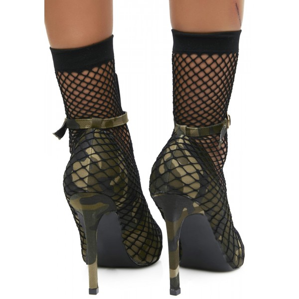 Fatigues Nets Ankle Strap Heels Pointy Toe Sitletto Heels Pumps image 4