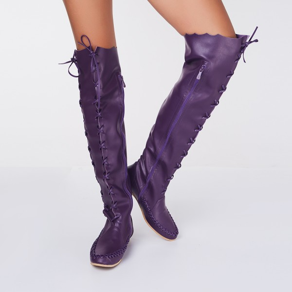 Women's Purple with Strappy Lace-up Vintage Boots image 4