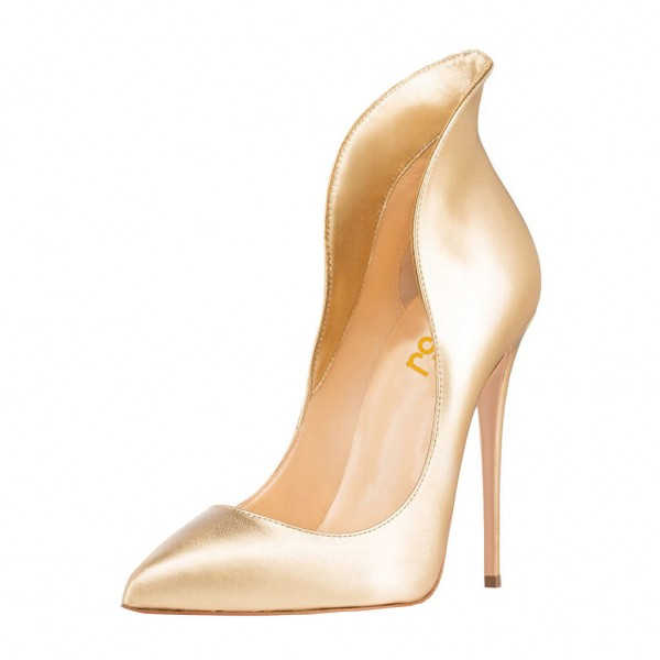 Tammy Golden Stiletto Heel ELegant Pumps image 1