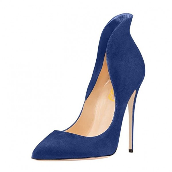 Navy Suede Shoes Stiletto Heel Pumps Pointy Toe Office Shoes image 1