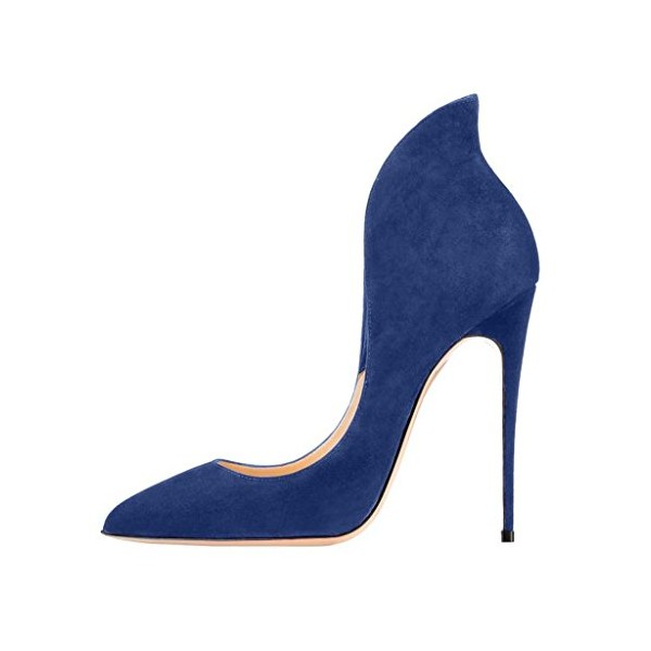 Blue Suede Shoes Stiletto Heel Pumps Pointy Toe Office Shoes image 3