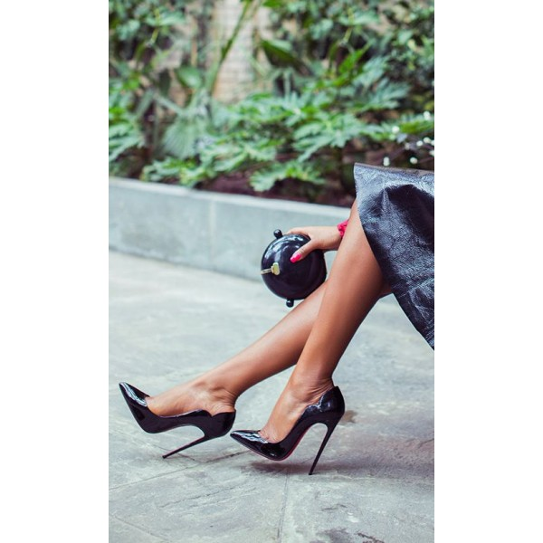 Black Office Heels Stiletto Heels Patent Leather Formal Shoes image 8