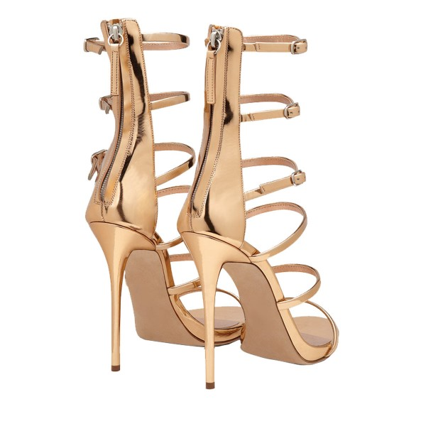 Gold Metallic Stiletto Heels Multi-strap Fashion Ankle Strap Sandals image 3