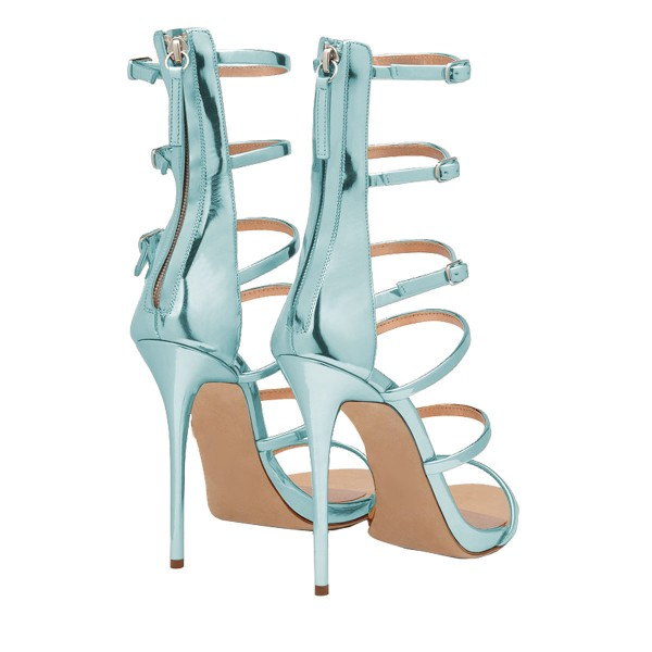 Light Blue Stiletto Heels Mirror Leather Open Toe Sandals image 3