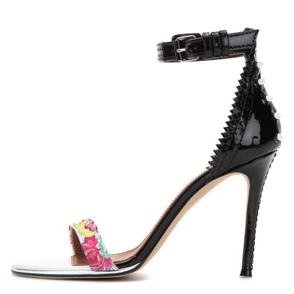 Floral Ankle Strap Sandals Open Toe Stiletto Heels image 2