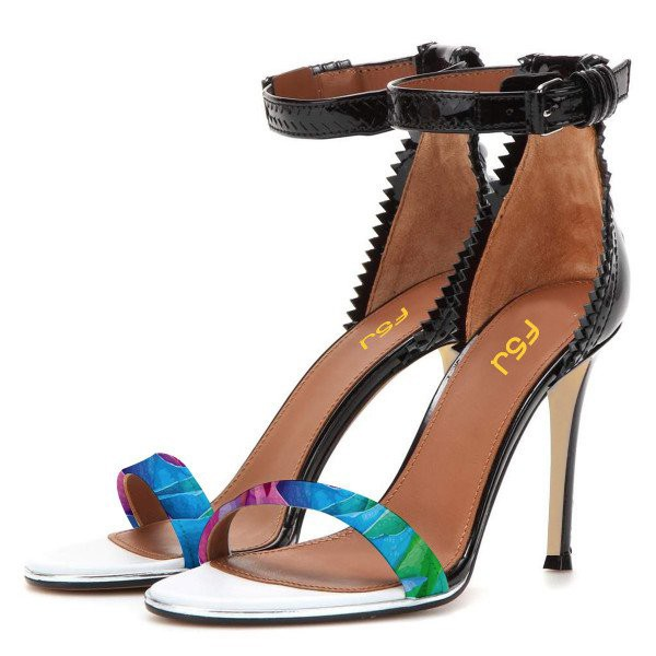 Esther Blue Zigzag Ankle Strap Sandals image 1