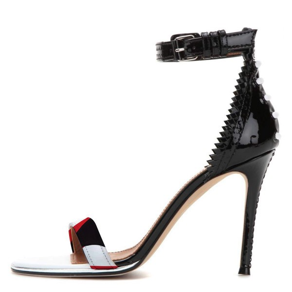Black Zigzag Ankle Strap Sandals Open Toe Stiletto Heels image 3