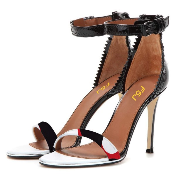 Black Zigzag Ankle Strap Sandals Open Toe Stiletto Heels image 1
