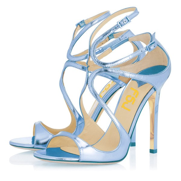 Blue Strappy Sandals Open Toe Mirror Leather Stiletto Heels for Prom image 1